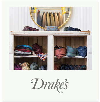 Drake's was founded in 1977 in London's East End, producing scarves and shawls for high-end fashion boutiques and traditional tailoring houses, before branching out into the ties and pocket squares for which the brand became known. Drake's has grown from luxury accessories manufacturer to true design house, with a distinct and recognizable aesthetic; sartorially informed yet easy-wearing, contemporary yet timeless.