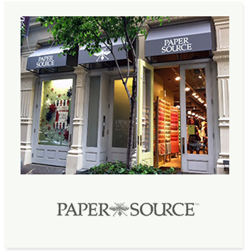 The first Paper Source store opened in Chicago in 1983 to showcase beautiful handcrafted papers from around the world. The company is now a premier paperie and online retailer offering a unique selection of fine and artisanal papers, invitations, personalized and distinctive gifts, gift wrap, greeting cards, stamps, and a custom collection of envelope and cards.