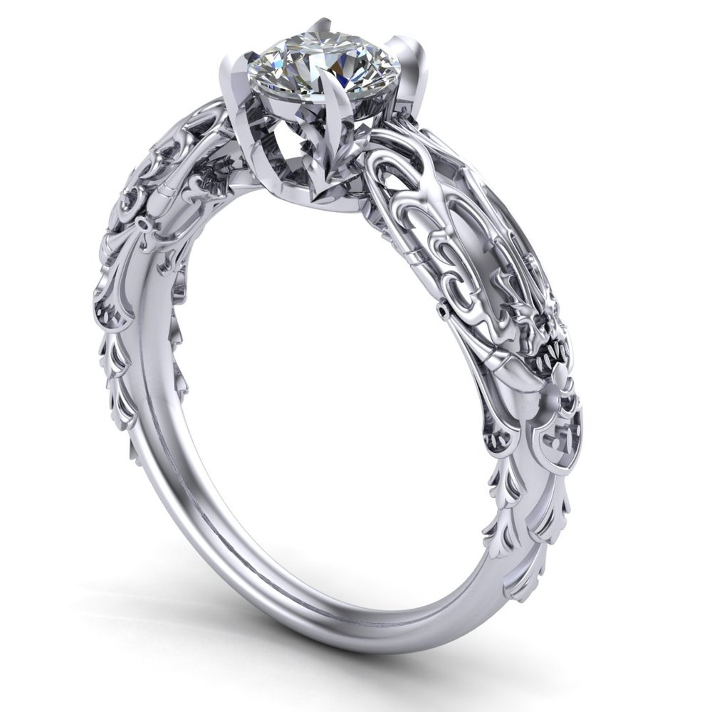 Gallery Image 02:<br />Custom Kan-E-Senna Final Fantasy inspired engagement ring in 14K white gold with a 0.50 ct diamond center stone