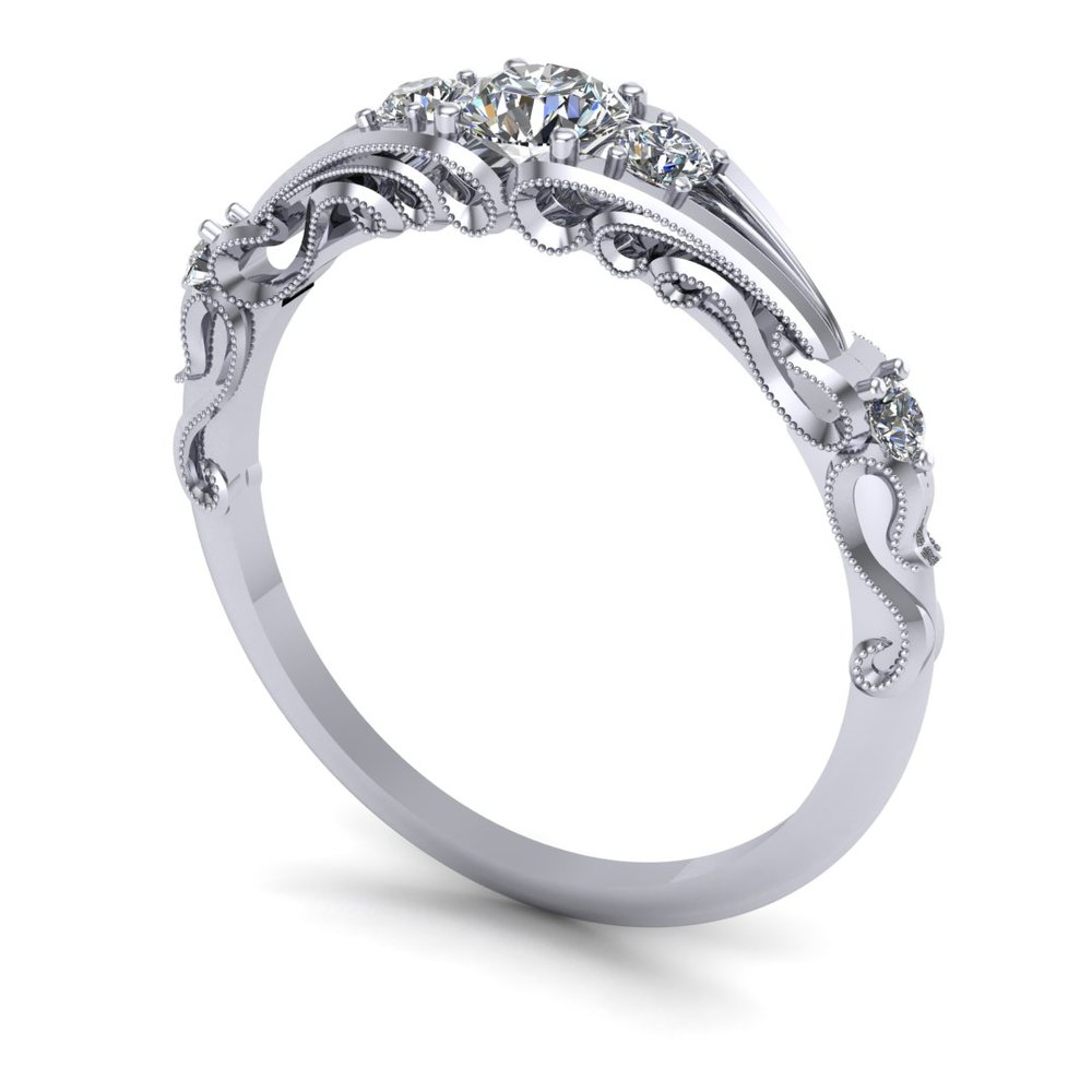 Custom antique-look milgrain ring in 14k white gold with a 0.25 ct round diamond center stone and 0.20 ctw accent diamonds