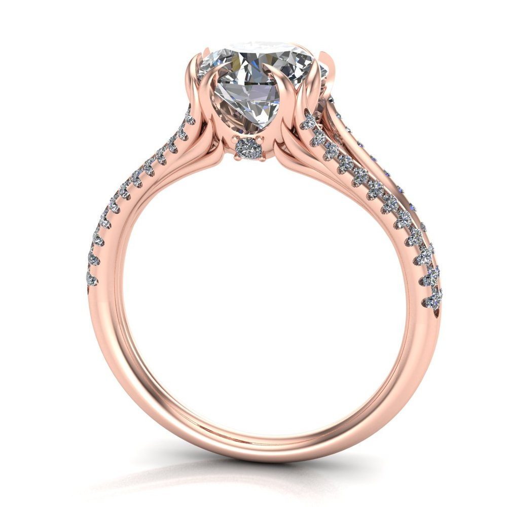 Custom Sailor Moon inspired engagement ring in 14K rose gold with a 1.50 ct Old European Cut Forever Brilliant Moissanite center stone and 0.35 ctw accent diamonds