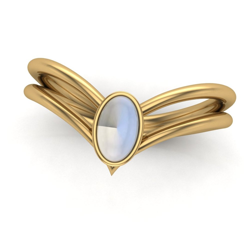 Custom Sailor Saturn tiara inspired split shank ring, made in 14K yellow gold with a 1.00 ct oval moonstone center stone
