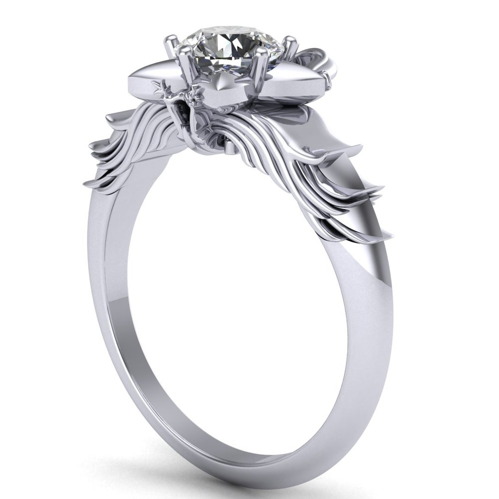 Gallery Image 10:<br />Custom Kingdom Hearts inspired Paopu Fruit engagement ring, made in 14K white gold with a 0.50 ct round diamond center stone