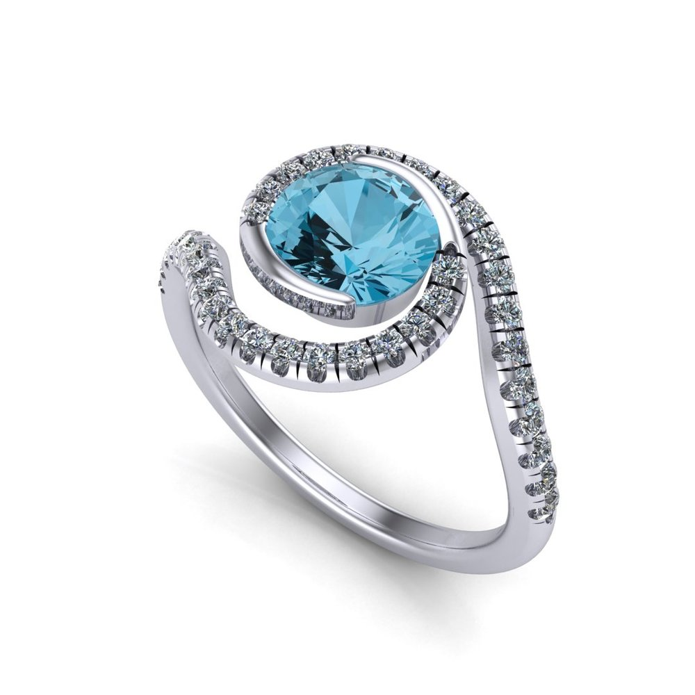 Custom spiral galaxy engagement ring, made in 14K white gold with a 1.13 ct blue topaz center stone and 0.36 ctw accent diamonds
