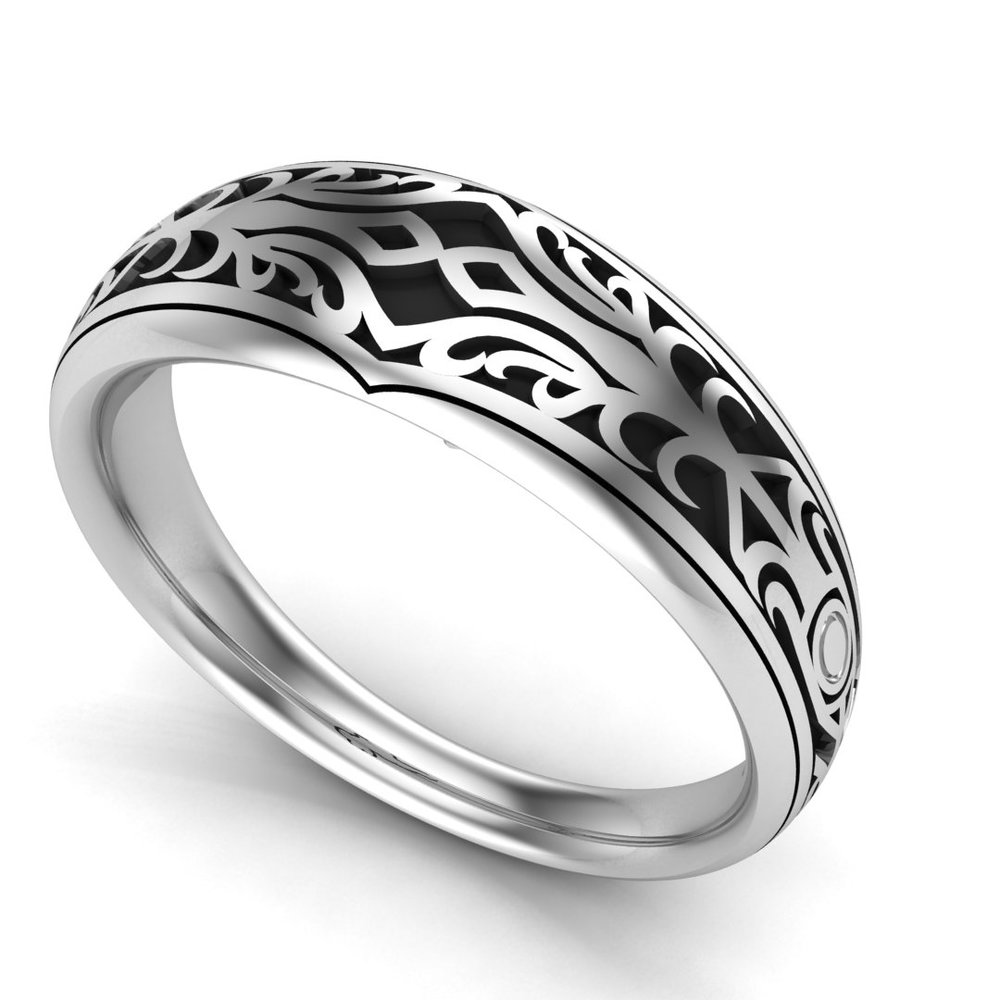 Custom Final Fantasy Lightning inspired men's wedding band, made in high-polished sterling silver with oxidized details