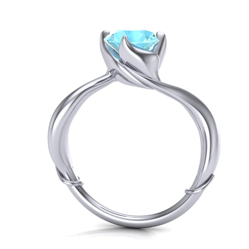 Gallery Image 17:<br />Custom Little Mermaid inspired engagement ring, made in 14K white gold with a 1.20 ct aquamarine center stone