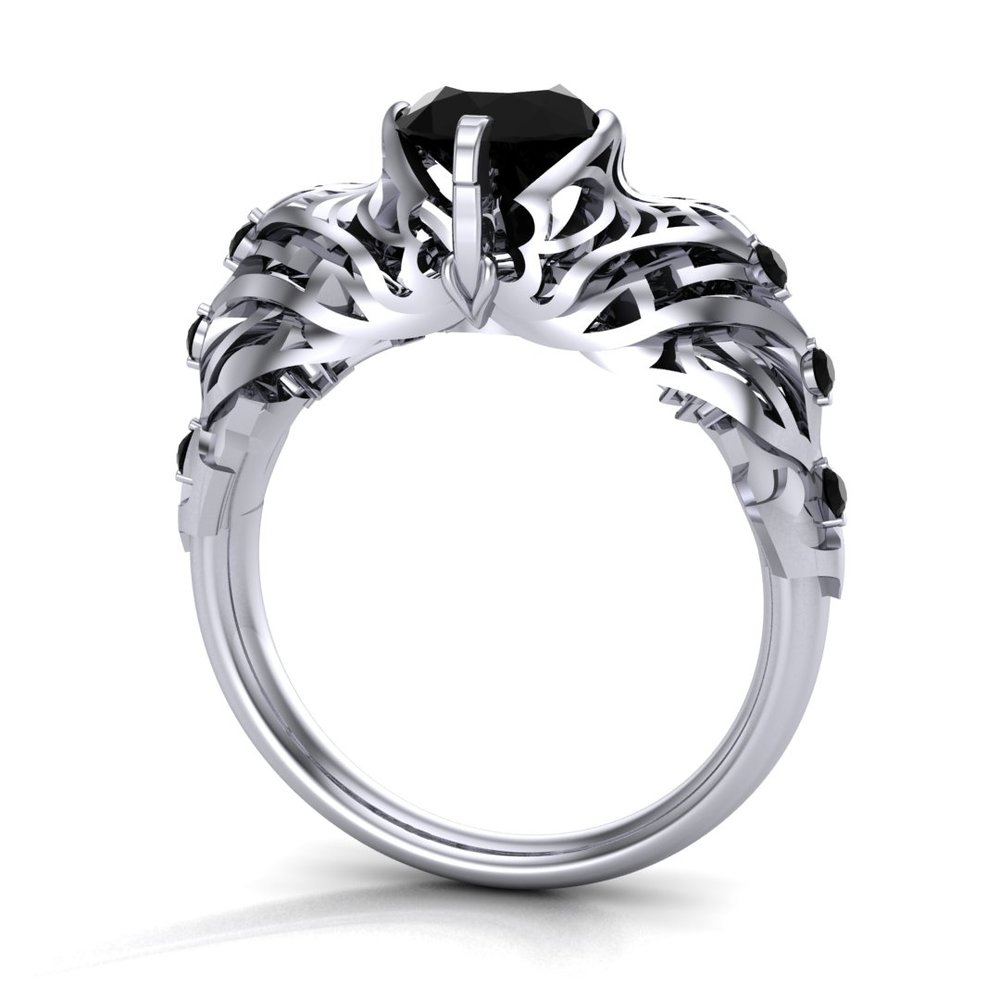 Gallery Image 19:<br />Custom Diablo 3 inspired engagement ring, made in platinum, with a 0.98 ct round black diamond center stone and 0.10 ctw black diamond accents