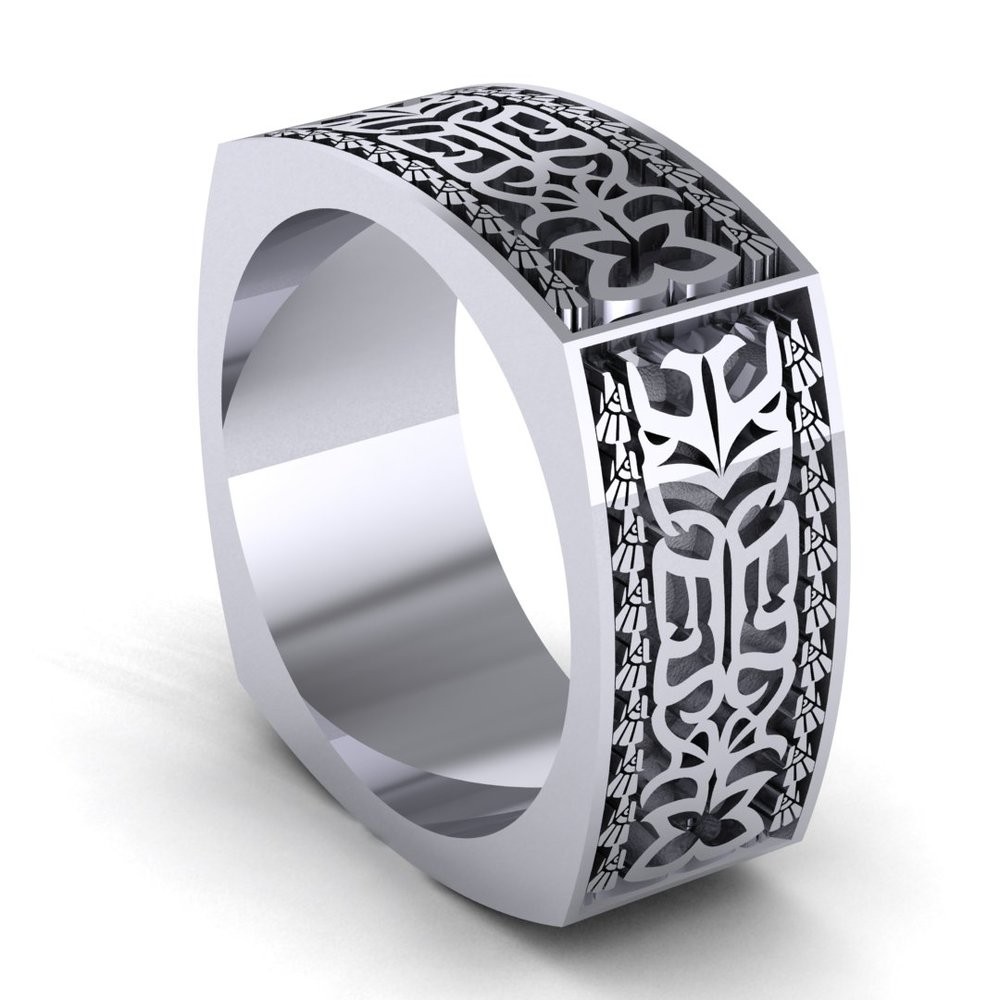 Aztec stone carving inspired men's  band combining couple's initials to create a pattern, made in platinum