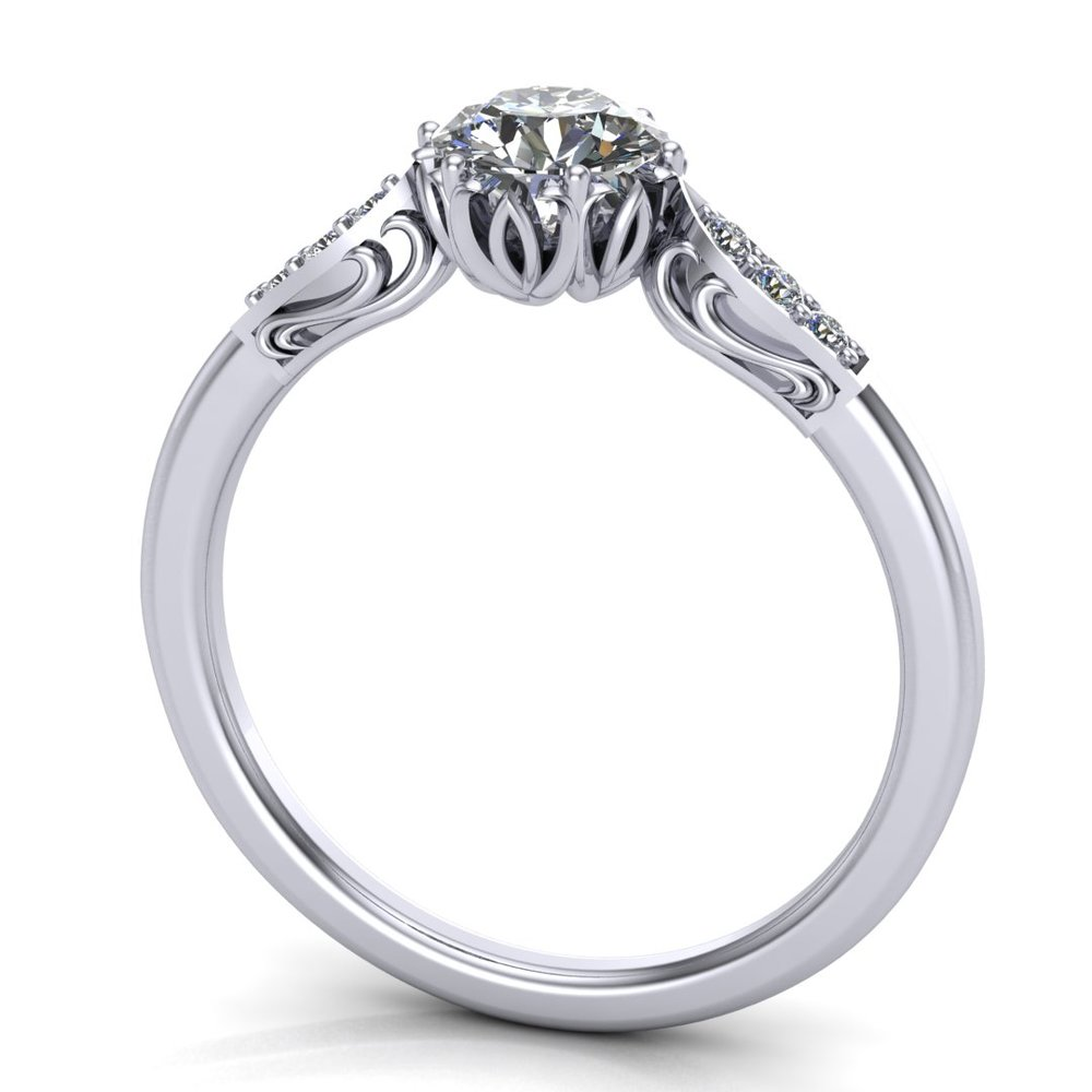 Custom solitaire engagement ring, made in 14K white gold, with a 0.43 ct round diamond and 0.042 ctw accent diamonds