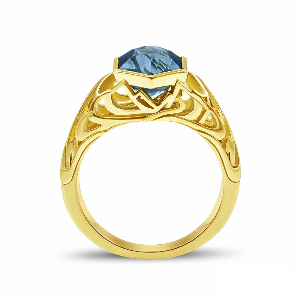 Custom antique/Edwardian style ring with Yosemite inspired design, made in 18K yellow gold, with a 2.88 ct hexagon cut Montana Sapphire from lapidary artist Jeff Hapeman