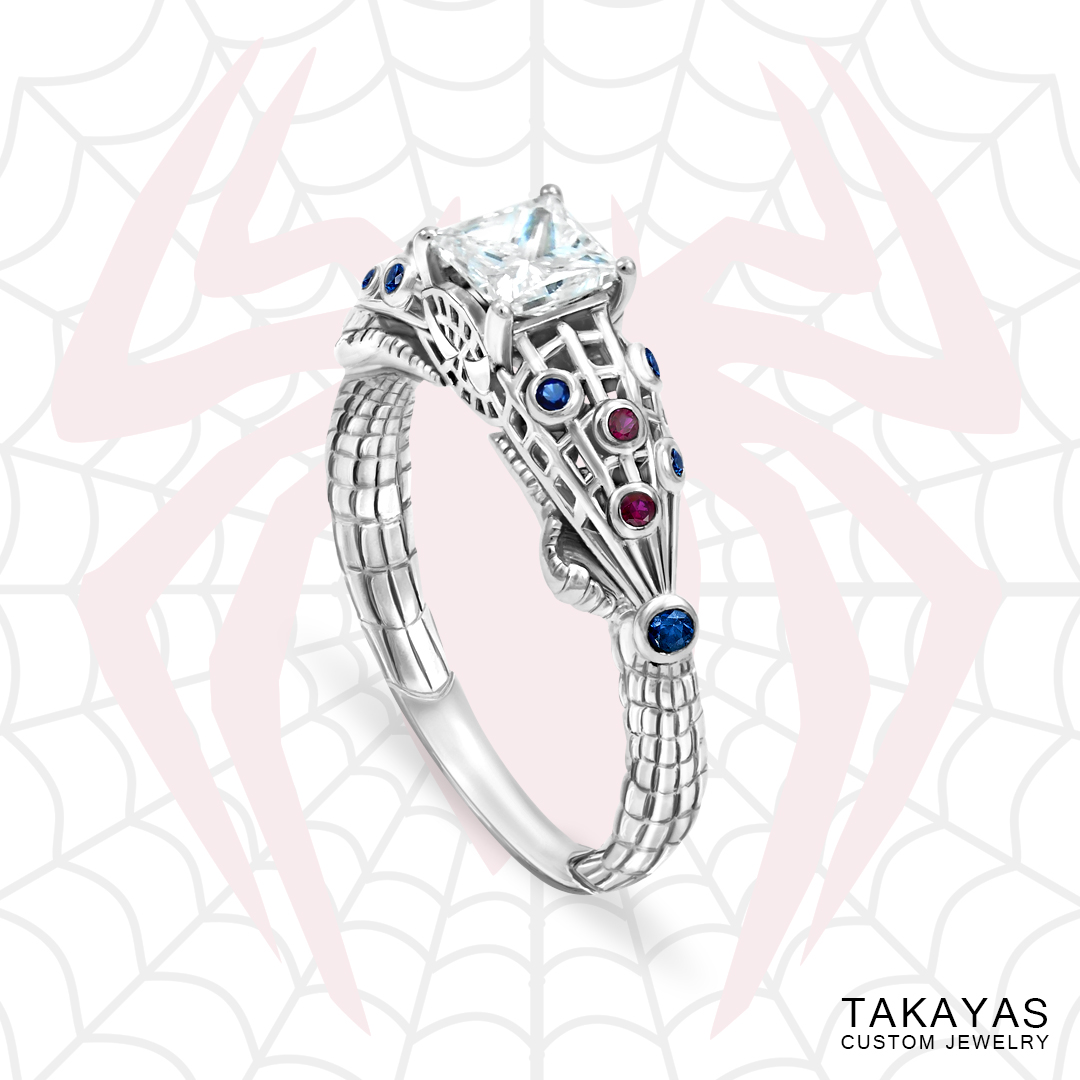 This is a graphic of The Amazing Spider-Man Inspired Engagement Ring Takayas Custom