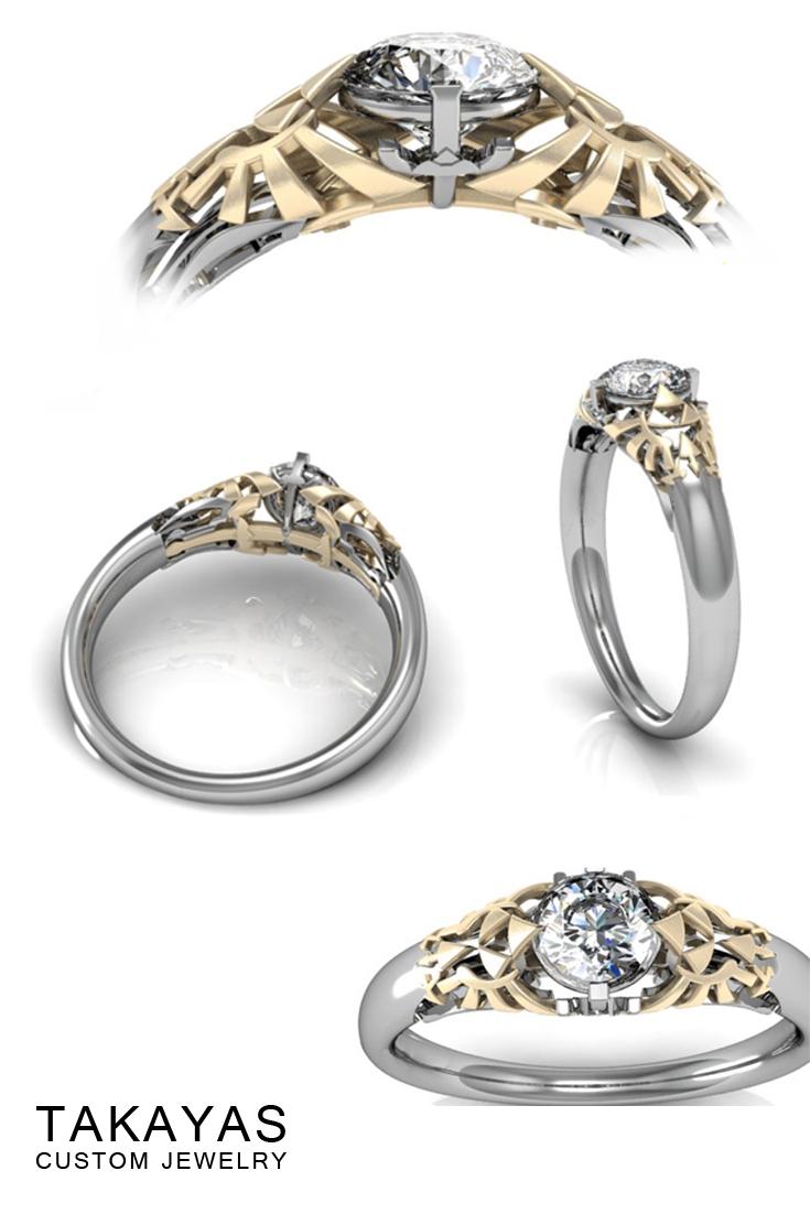 Round Zelda Engagement Ring Takayas Custom Jewelry