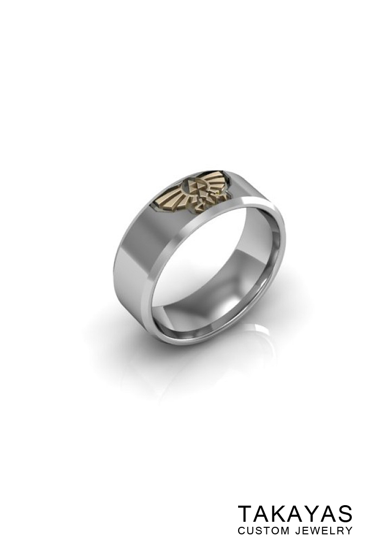 14K white gold Zelda mens wedding band with 14K yellow gold hylian crest and triforce by Takayas Custom Jewelry