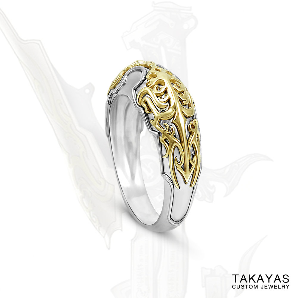 Final Fantasy Lightning Gunblade Wedding Band by Takayas Custom Jewelry