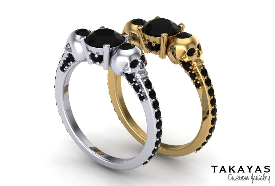 ladies skull black diamond gothic engagement ring