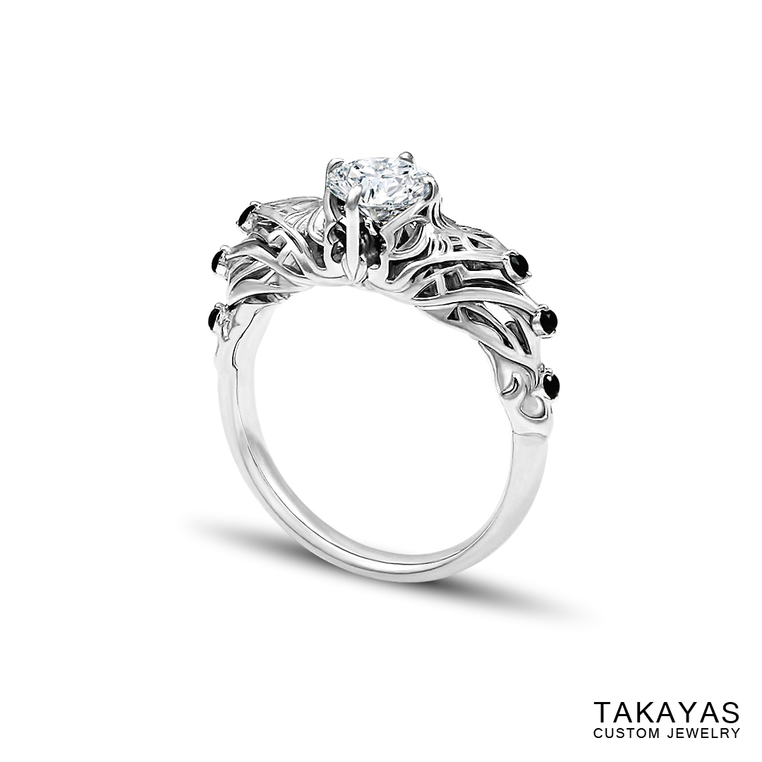 Diablo 3 diamond demon hunter engagement ring by Takayas Custom Jewelry