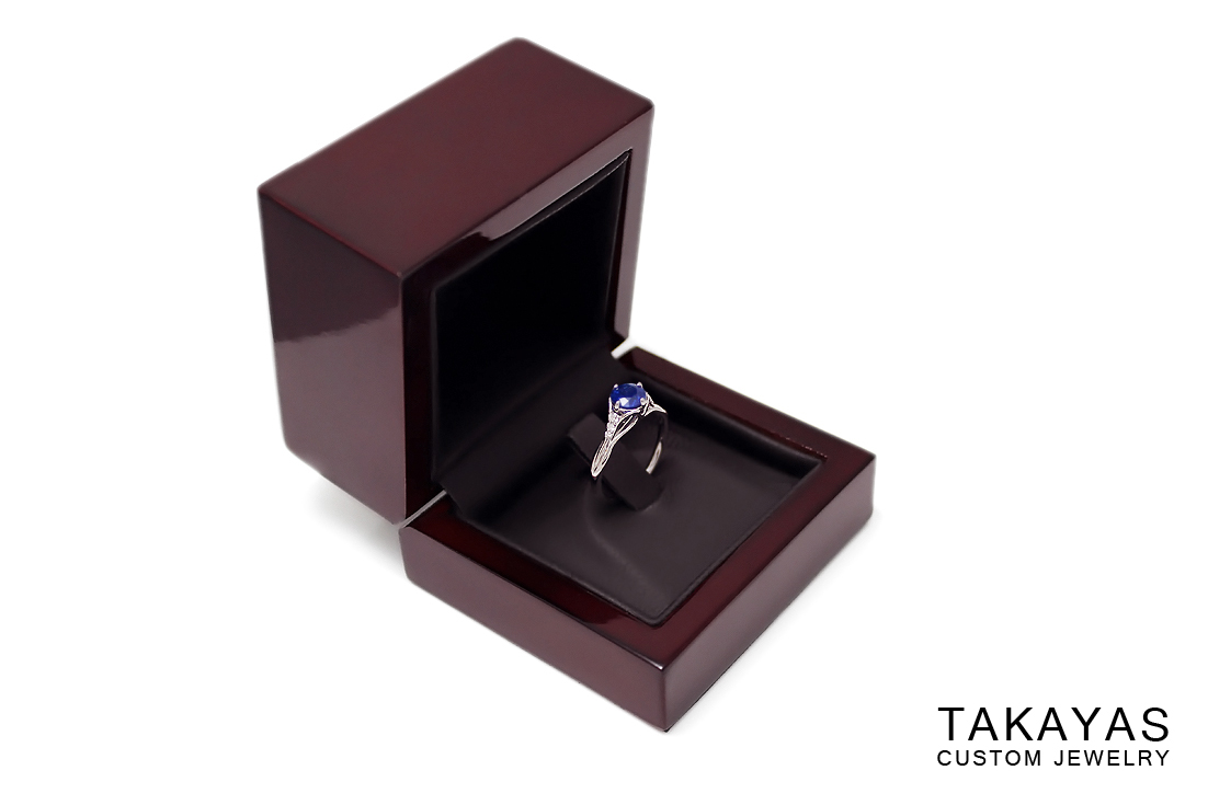 Sapphire Leaf Ring Box Takayas Custom Jewelry