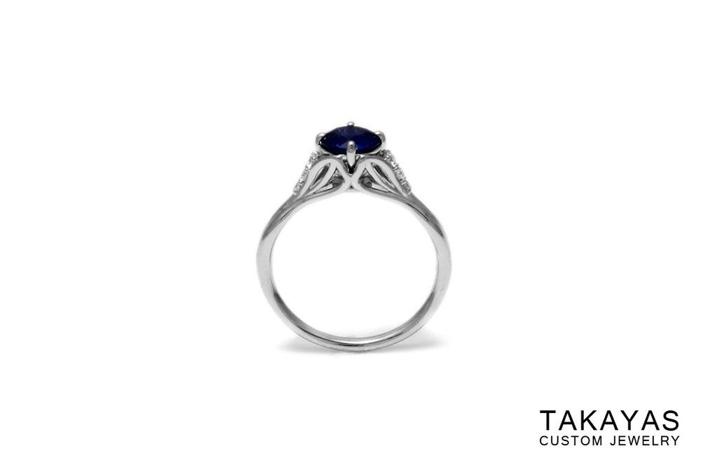 Sapphire Leaf Ring Front Takayas Custom Jewelry