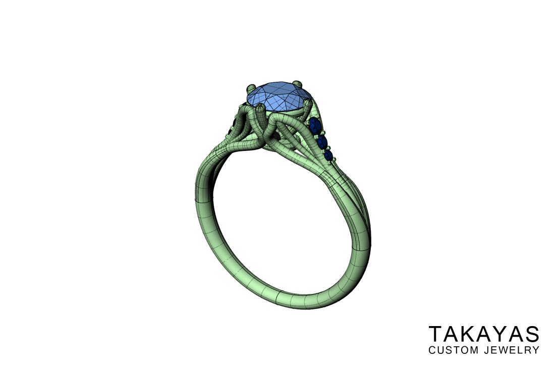 Sapphire Leaf Ring Render Takayas Custom Jewelry