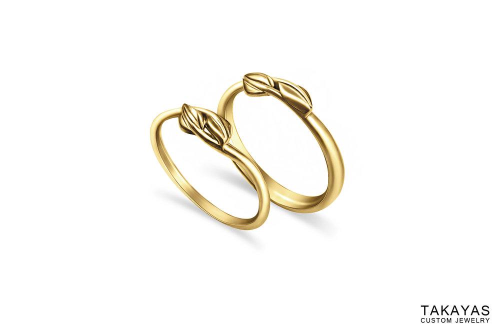 Leaf Wedding Bands Takayas Custom Jewelry