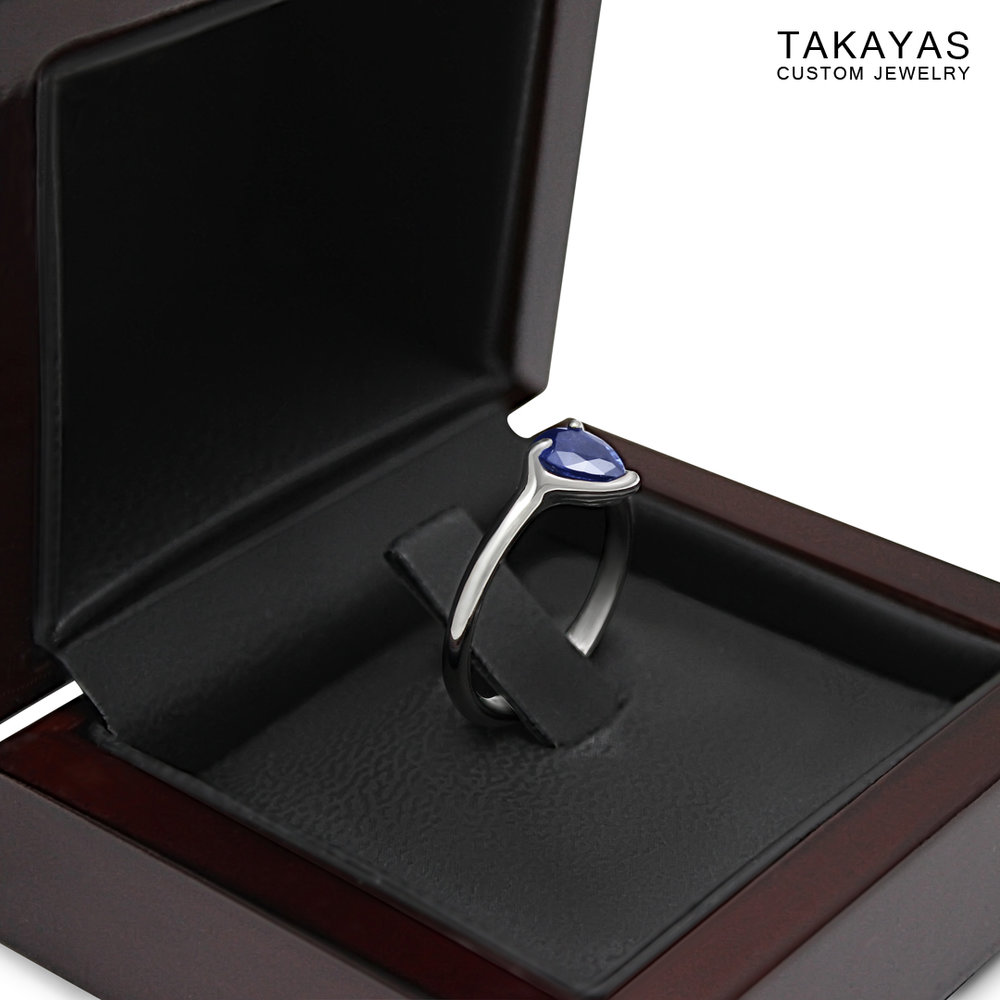 claddagh engagement in box Takayas Custom Jewelry