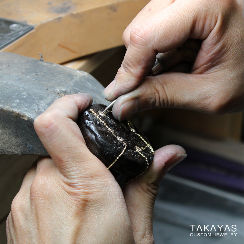 setting diamonds mermaid pendant takayas custom jewelry