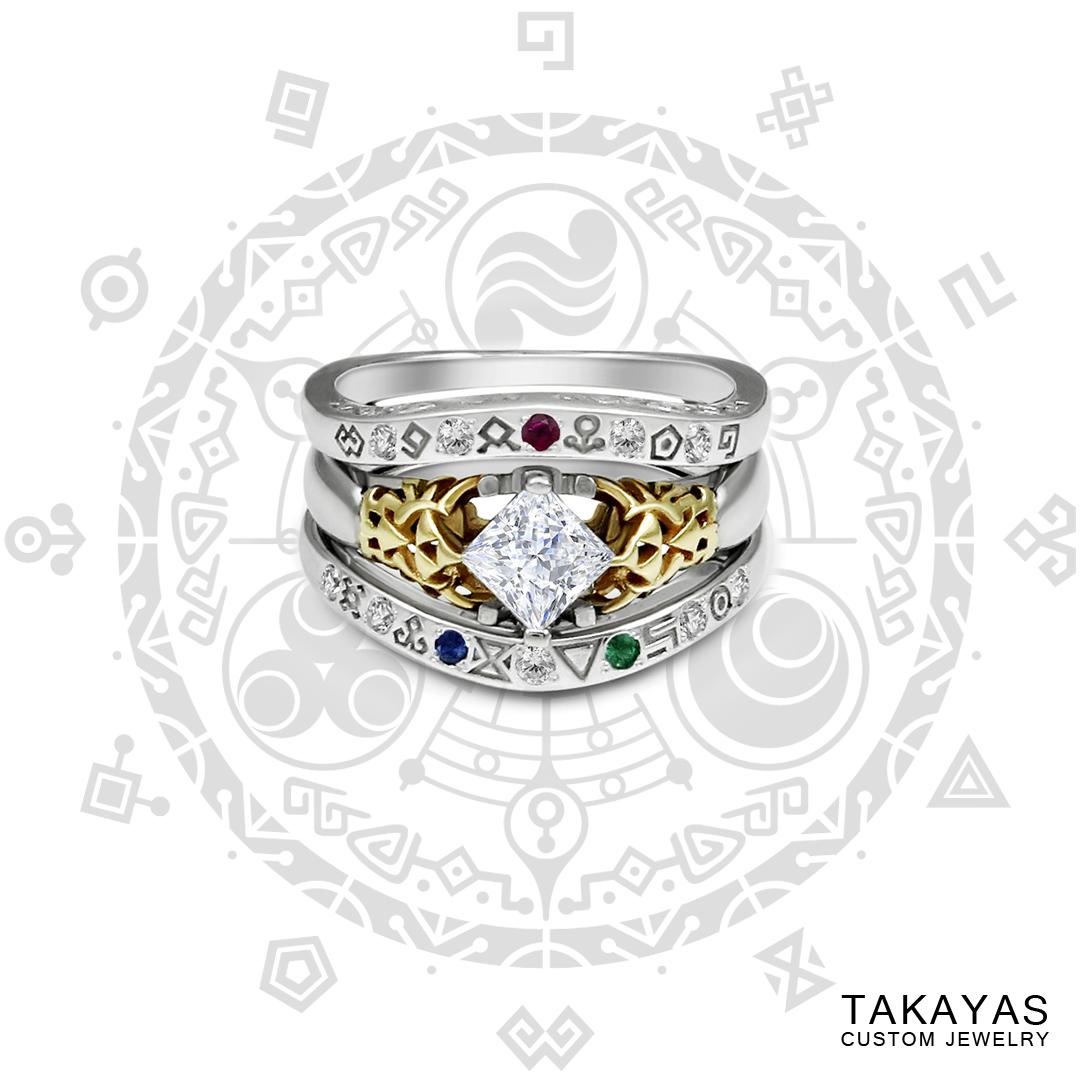 Gate Of Time Zelda Inspired Wedding Bands Takayas Custom Jewelry
