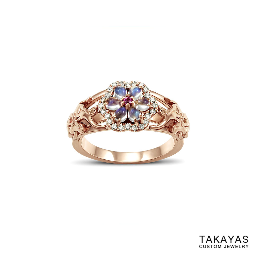 14K rose gold cat turtle moonstone engagement ring Takayas Custom Jewelry front