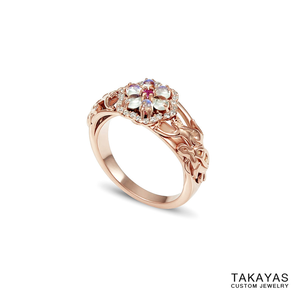 14K rose gold cat turtle moonstone engagement ring Takayas Custom Jewelry side
