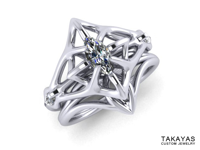 elven-diamond-engagement-ring-wedding-band-set-takayas-custom-jewelry