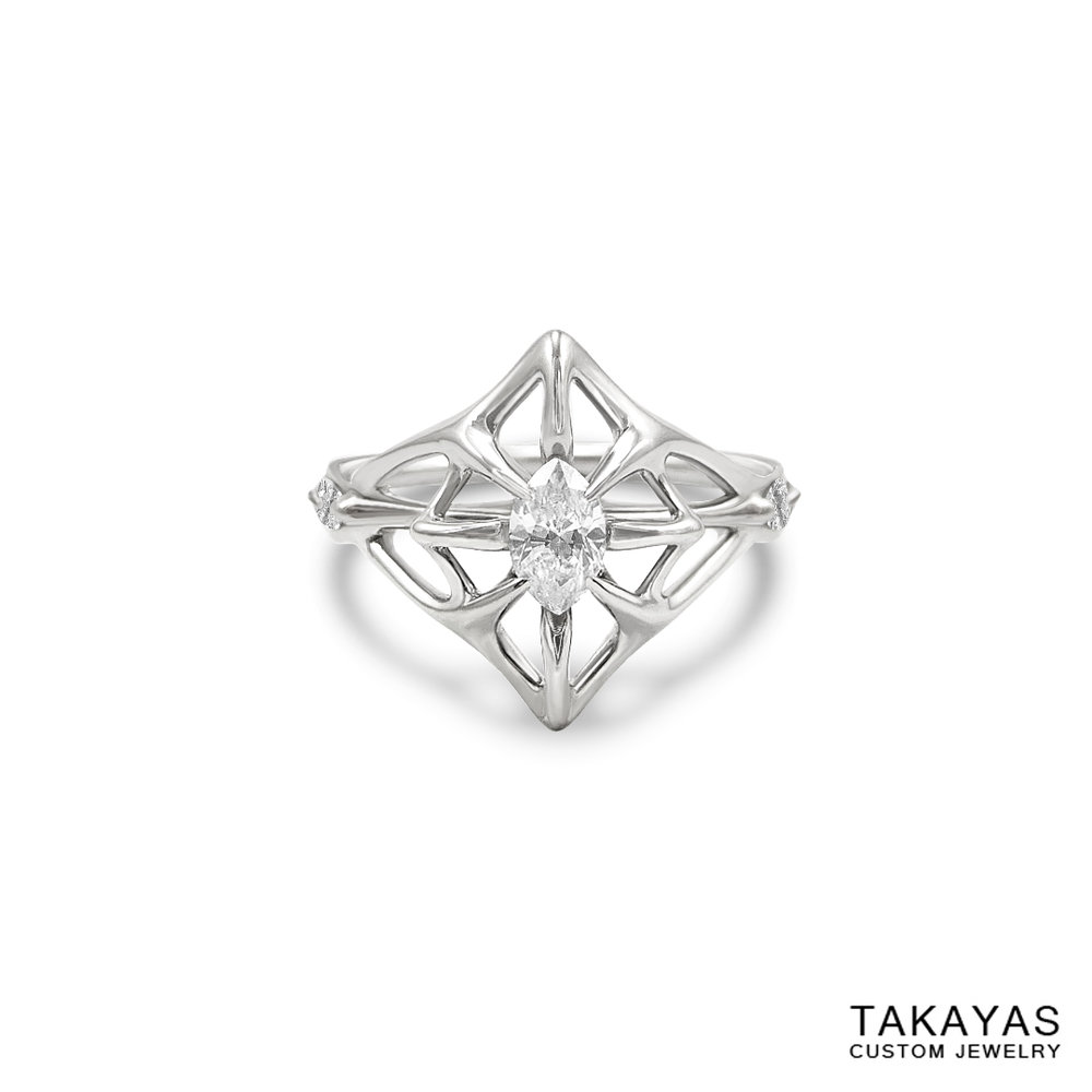 lord-of-the-rings-marquise-diamond-engagement-ring-front-takayas-custom-jewelry