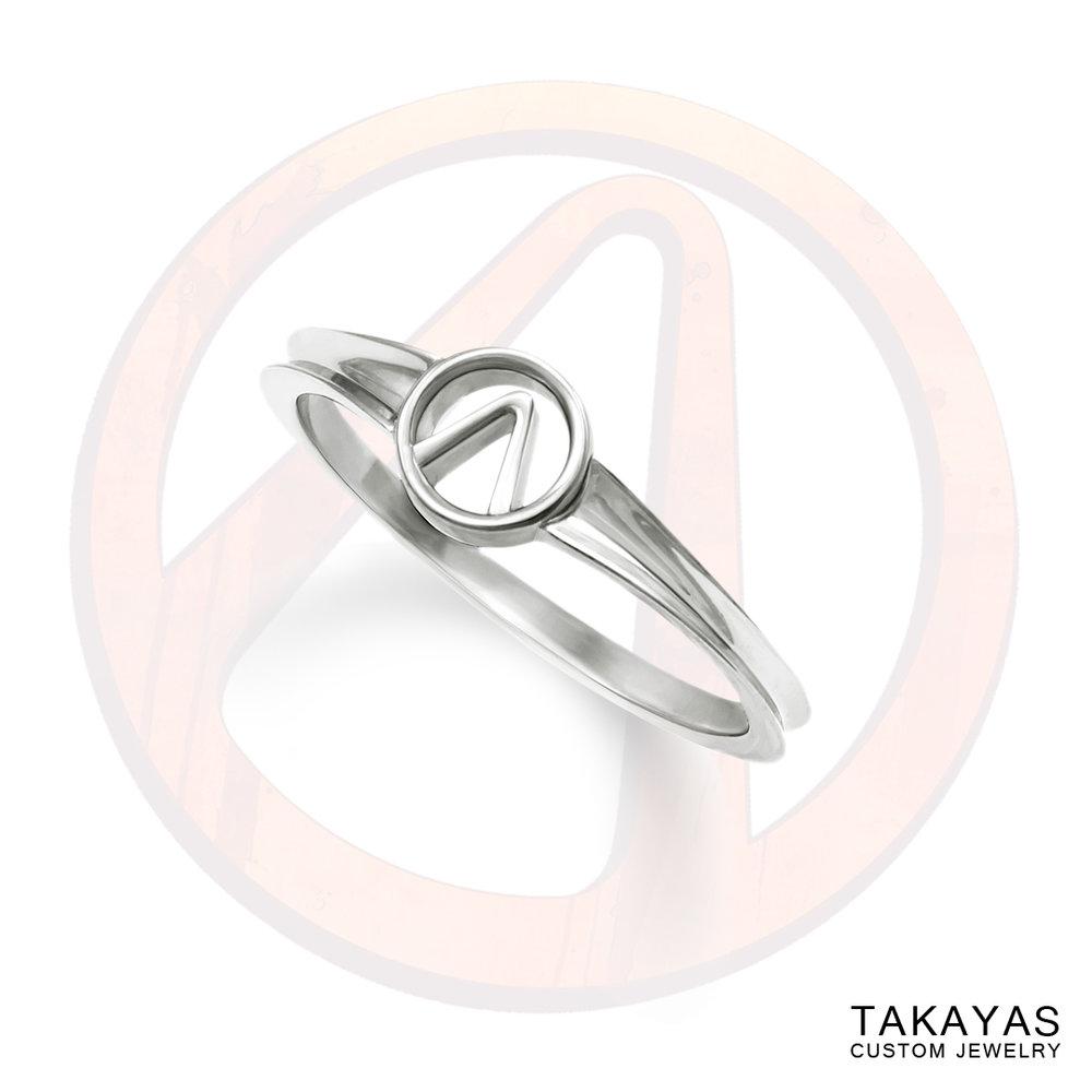 14K gold Borderlands Vault symbol ladies ring by Takayas Custom Jewelry