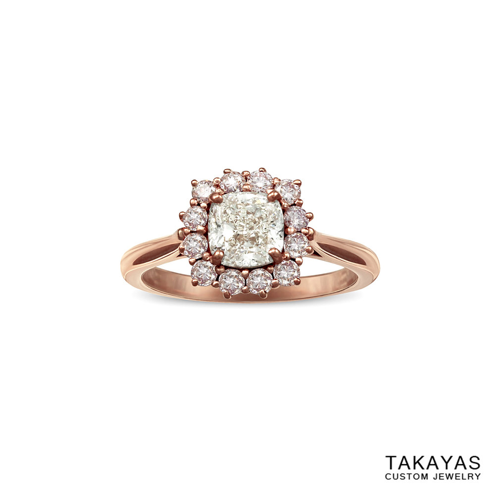 cushion cut diamond ring with natural pink diamond halo by Takayas Custom Jewelry