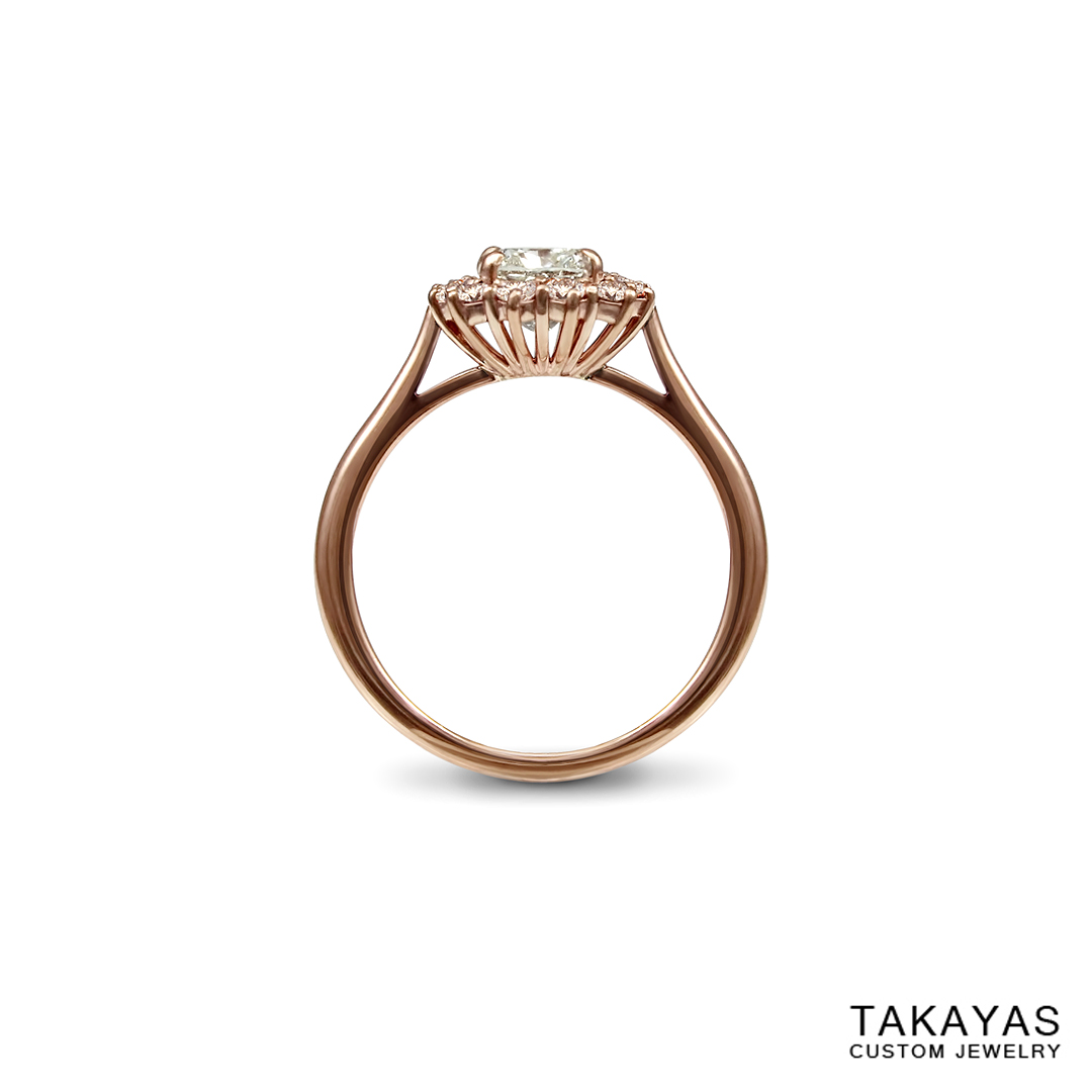 Rose gold and natural pink diamond ring by Takayas Custom Jewelry