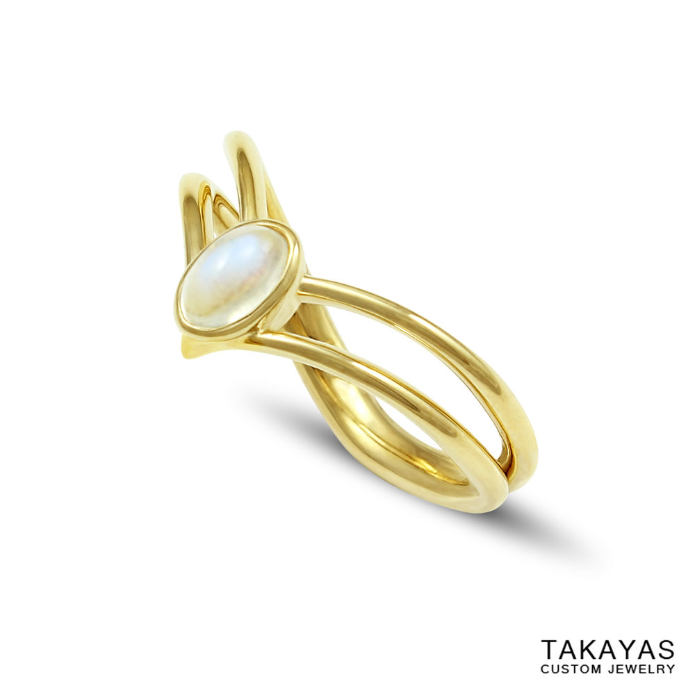 Side view of Sailor Saturn tiara engagement ring by Takayas Custom Jewelry