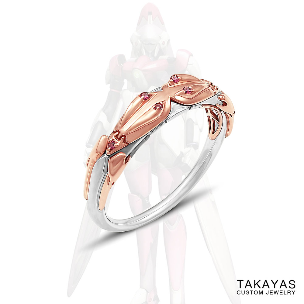 Pink sapphire mech wedding ring inspired by the video game Xenogears