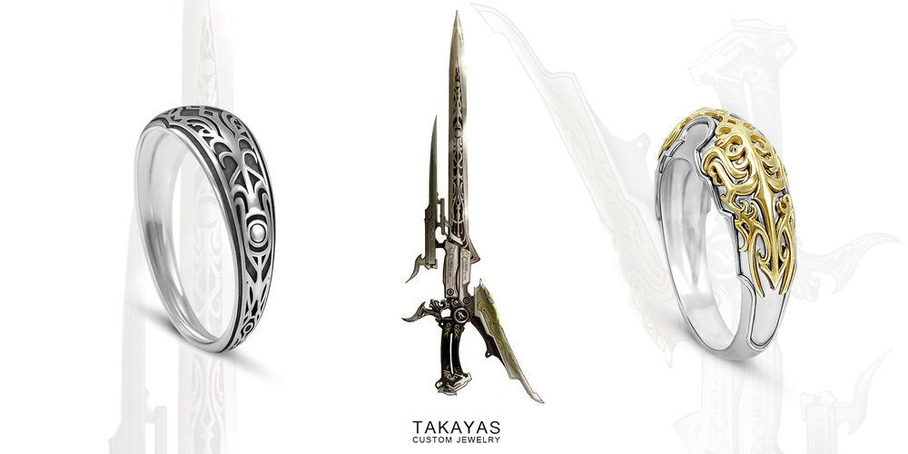 Custom Final Fantasy Gunblade inspired mens wedding bands