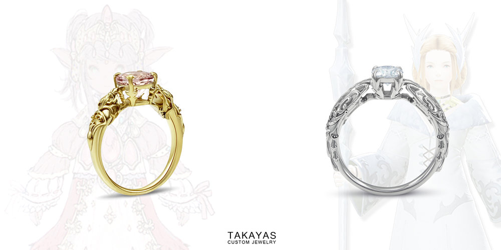 final fantasy xiv sultana nanamo and kan-e-senna engagement rings by Takayas Custom Jewelry