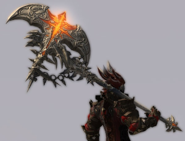 close-up view showing the detailed patterns on the Warrior's axe weapon