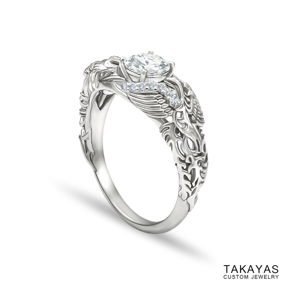 Lisa's Dragon Phoenix engagement ring by Takayas - angled side view