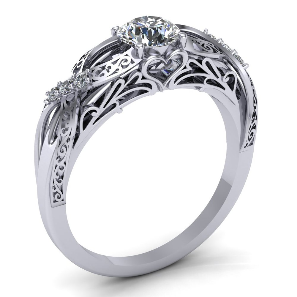 Elegant Fantasy custom ring design by Takayas, angled view