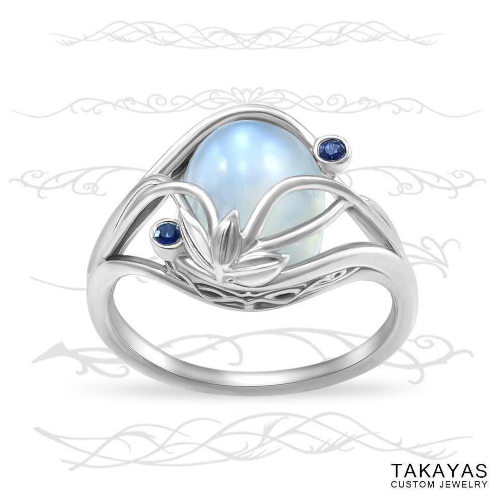Elvish Moonstone Engagement Ring by Takayas Custom Jewelry