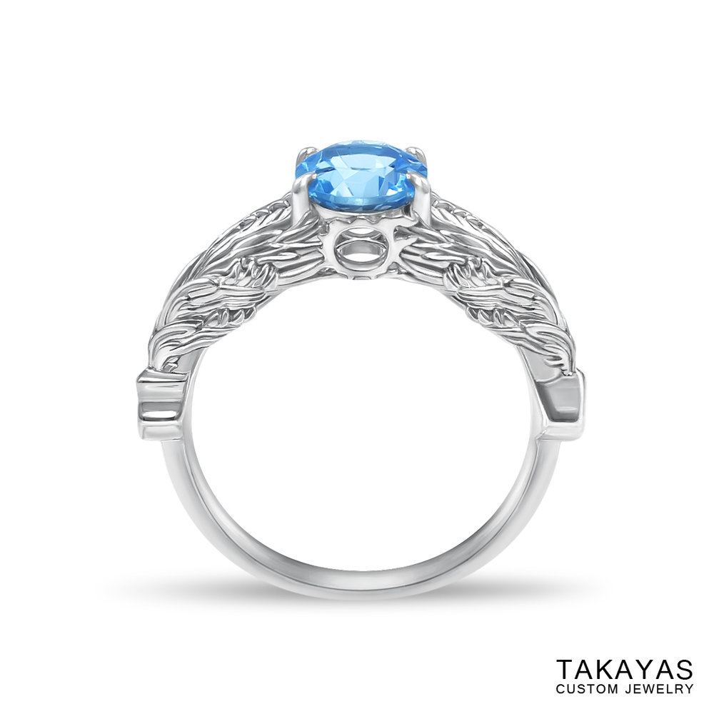 front view of FFXIV Hraesvelgr inspired ring by Takayas Custom Jewelry