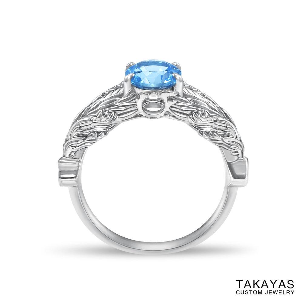 front view of FFXIV Hraesvelgr inspired ring by Takayas Custom Jewelry