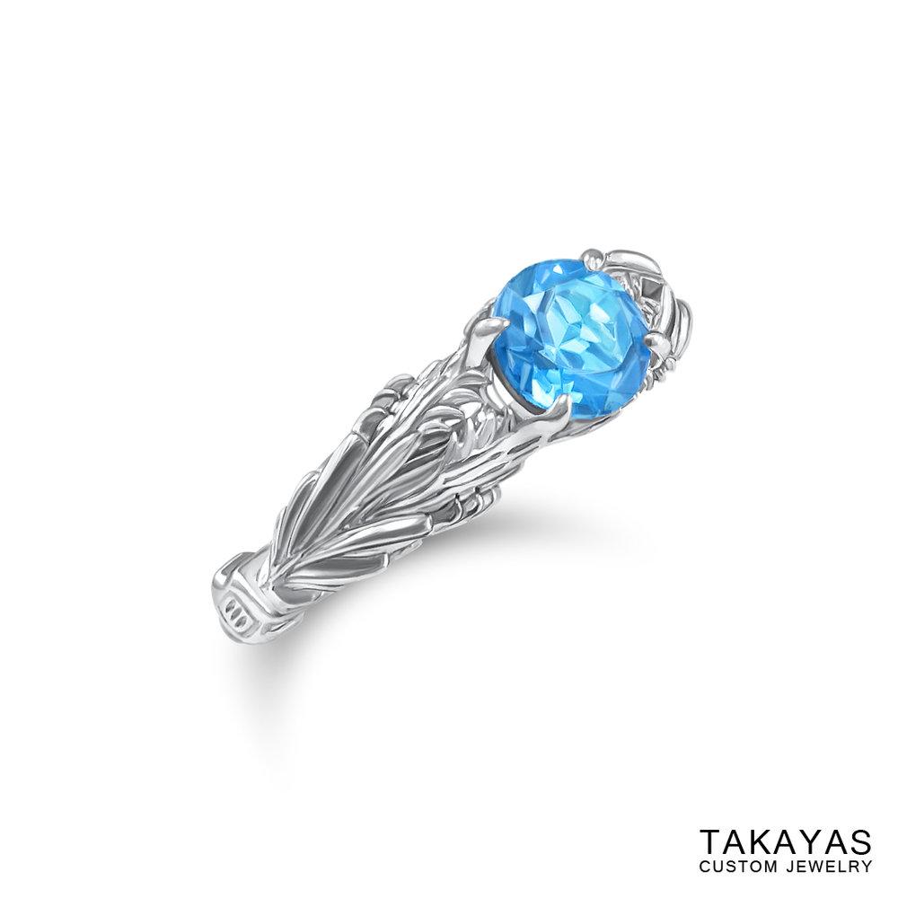 side view of FFXIV Hraesvelgr inspired ring by Takayas Custom Jewelry