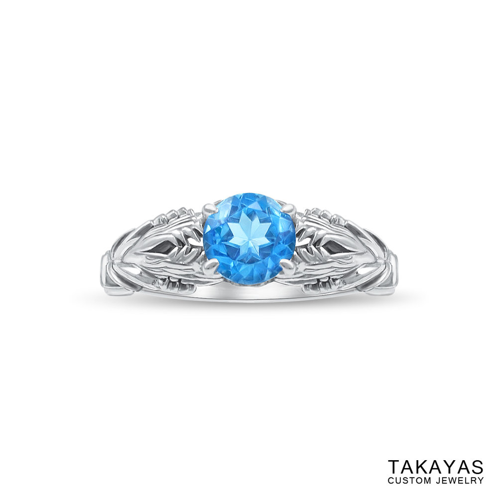 top view of FFXIV Hraesvelgr inspired ring by Takayas Custom Jewelry