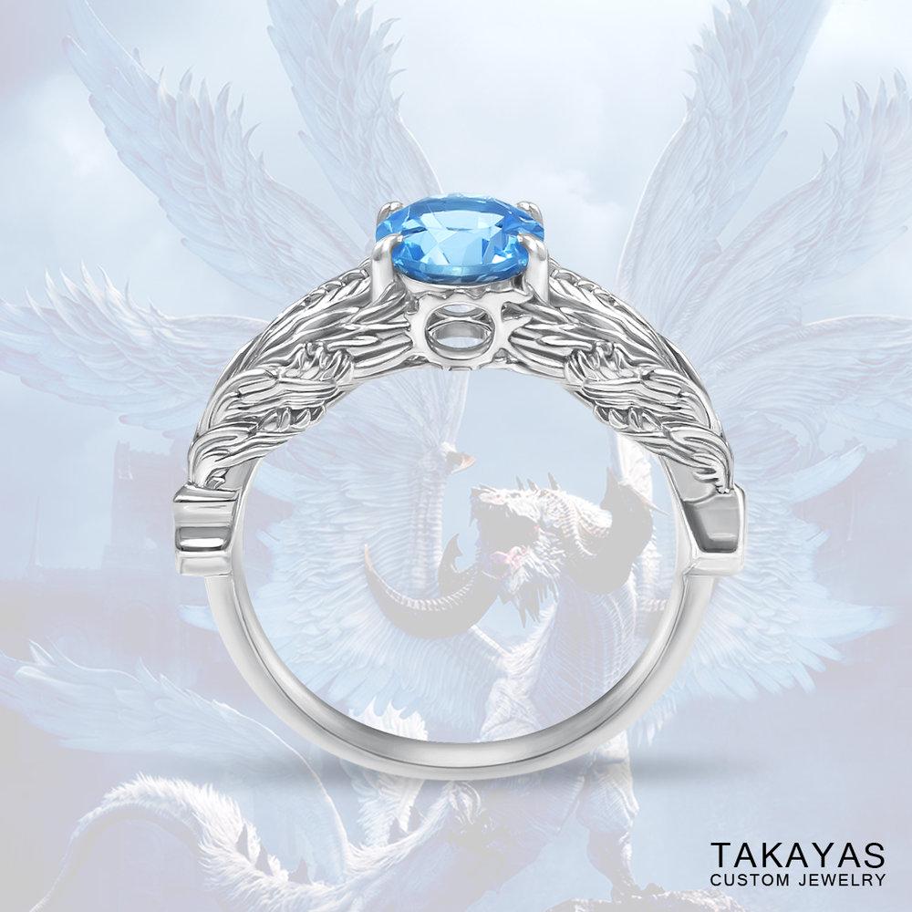 FFXIV Hraesvelgr great wyrm inspired ring by Takayas custom jewelry