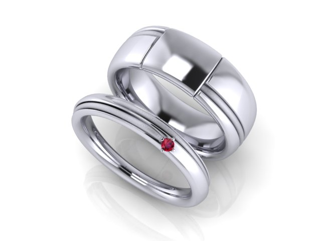 CAD rendering - Red String of Fate wedding bands by Takayas Custom Jewelry