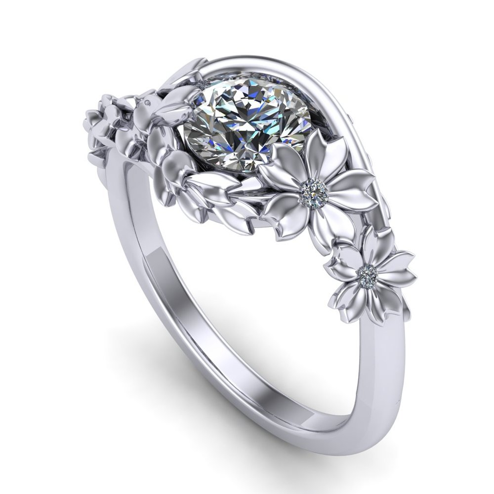 CAD rendering of cherry blossom engagement ring by Takayas, showing accent diamond option