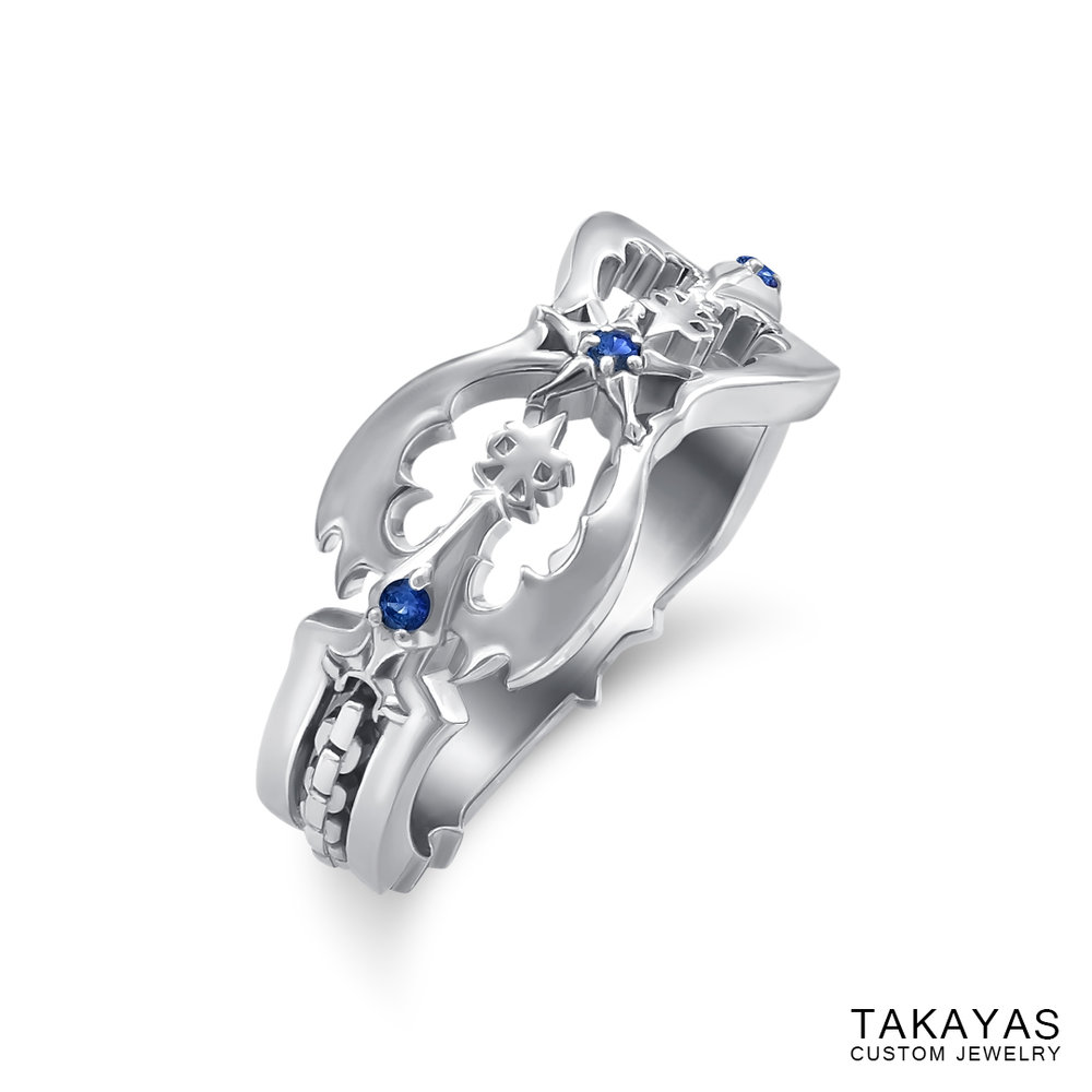 Kingdom Hearts Oblivion Wedding Ring by Takayas angled side view